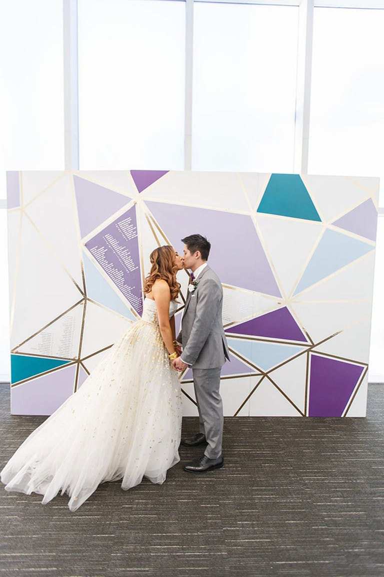 Purple and blue wedding backdrop   PartySlate