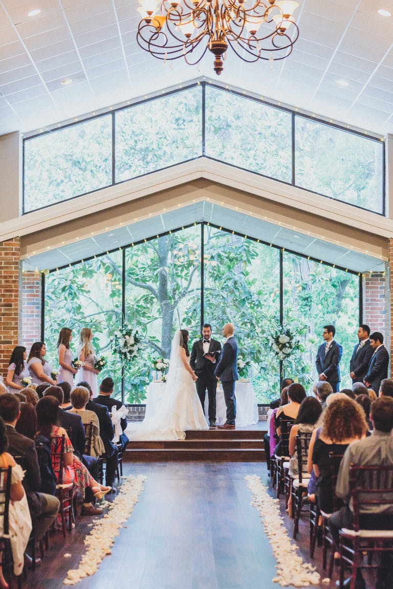 Wedding Ceremony in The Garden Room at Shirley Acres, an Outdoor Wedding Venue in Houston | PartySlate