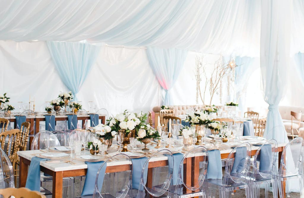 Wedding Tent With Dreamy Pastel Blue and White Drapery | PartySlate