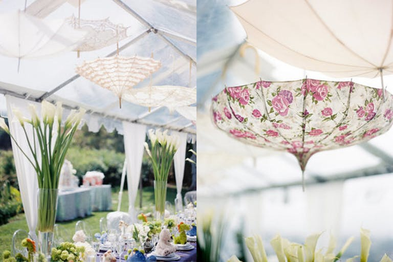Transparent Tent Rain-Themed Baby Shower With Umbrella Ceiling Installation | PartySlate