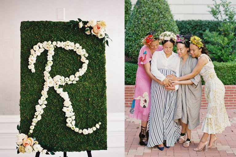 Floral-Forward Baby Shower With Four Sisters Wearing Floral Crowns   PartySlate
