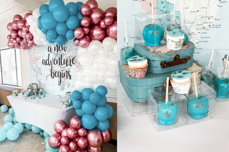 Travel-Themed Baby Shower With Metallic Blue and Pink Balloon Décor, Blue Vintage Suitcases, and Carmel Covered Apples Designed to Look Like Globes   PartySlate