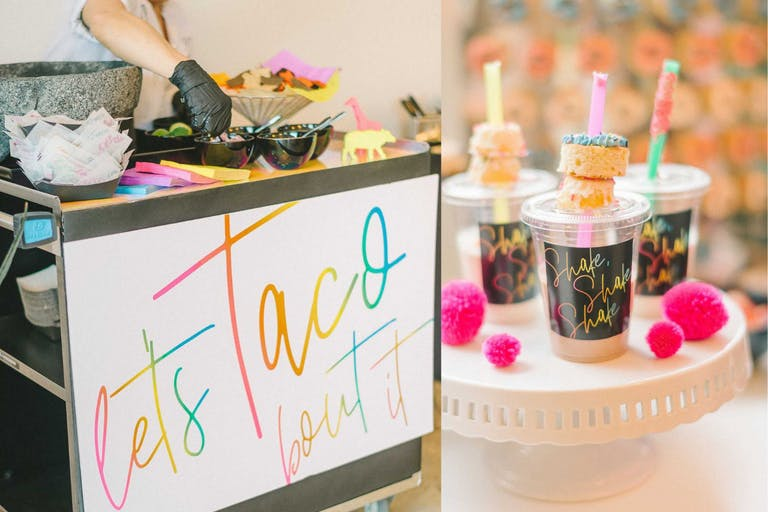 Colorful Baby Shower With Taco Station and Snacks   PartySlate