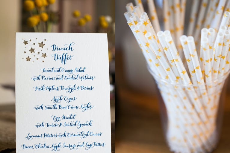 Starry Night-Themed Menus and Straws for Baby Shower   PartySlate