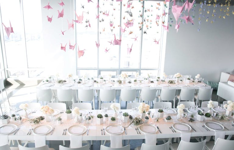 Pastel-Toned Baby Shower With Pink Origami Bird Ceiling Installation   PartySlate