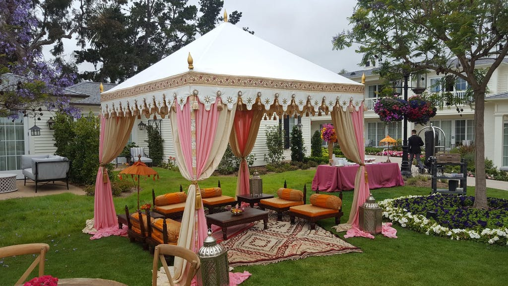 Pink and White Henna Tea Ceremony Wedding Marquee Tent | PartySlate