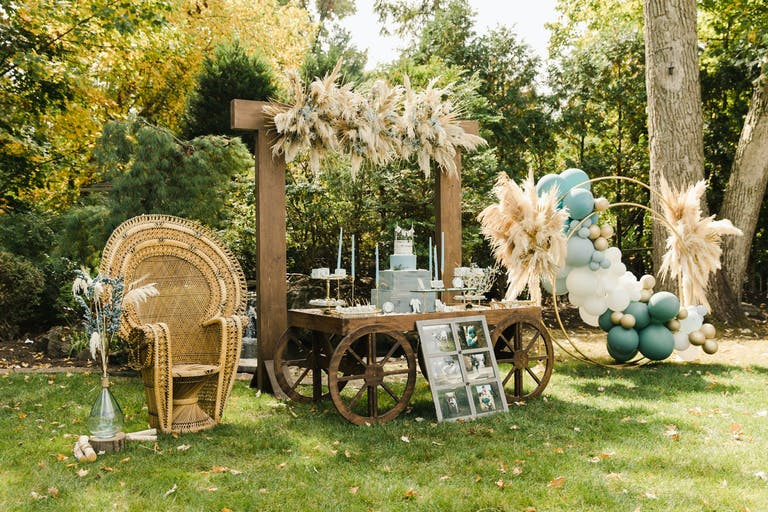 Outdoor Boho-Themed Baby Shower With Wicker and Balloon Décor   PartySlate
