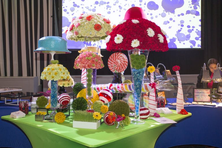 Willy Wonka-Themed Baby Shower With Candy Station and Mushroom Centerpieces   PartySlate