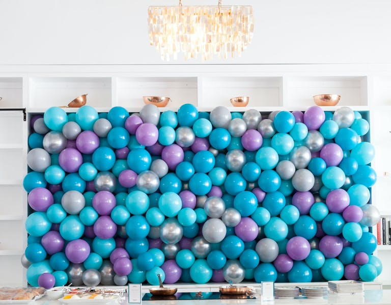 Baby Shower With Blue, Purple, and Silver Balloon Wall   PartySlate