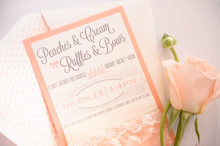 Peaches N' Cream-Themed Baby Shower Invitation   PartySlate