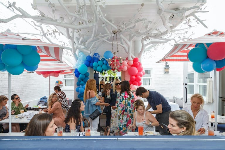 Outdoor Baby Shower With Blue and Red Balloon Décor   PartySlate