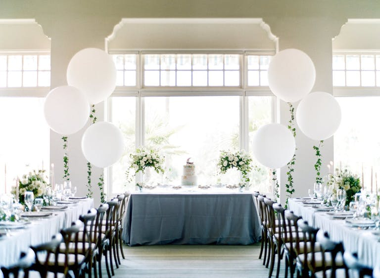 Moon and Stars-Themed Baby Shower With White Balloon Décor   PartySlate
