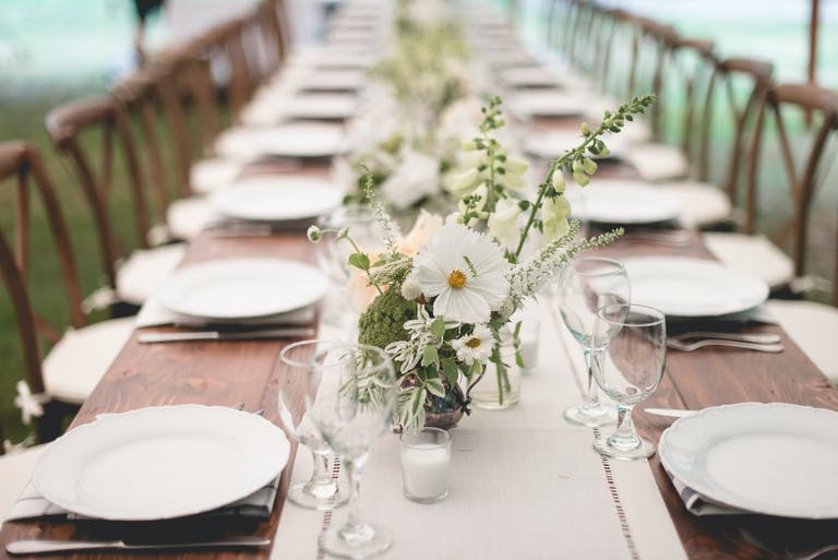 Rustic Wedding Tablescape with Pale Green and White Flowers | PartySlate