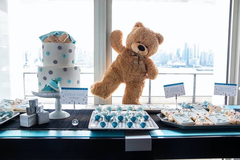 Teddy Bear-Themed Baby Shower With Blue-Toned Dessert Table   PartySlate
