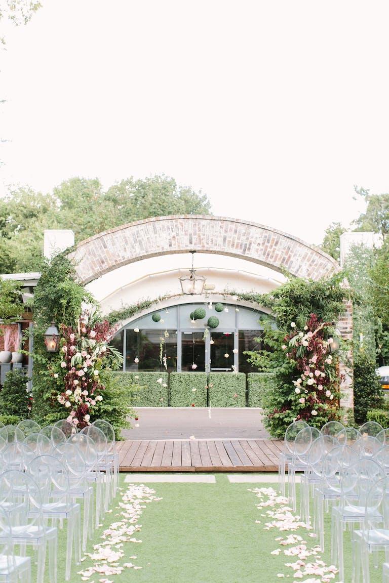 Romantic Outdoor Wedding Ceremony at Hughes Manor in Houston, TX | PartySlate