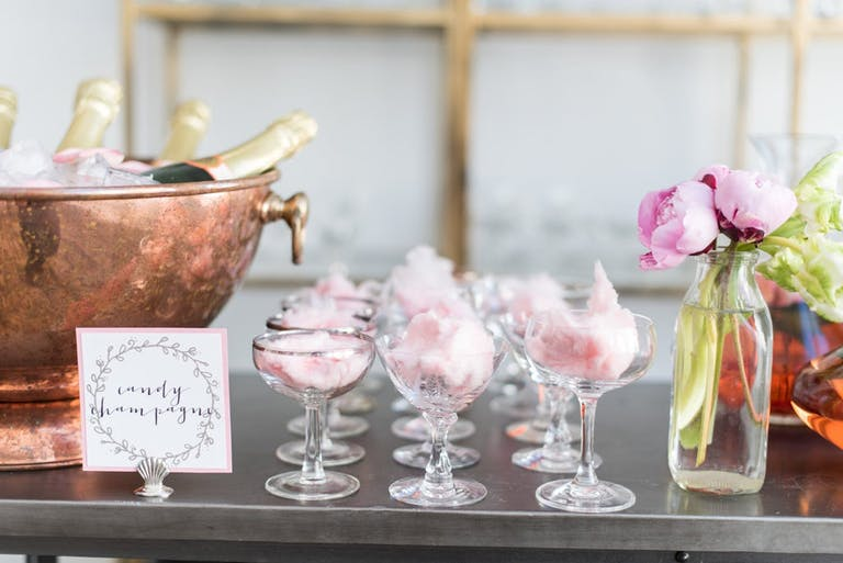 Pink Cotton Candy Champagne for a Parisian-Themed Baby Show   PartySlate