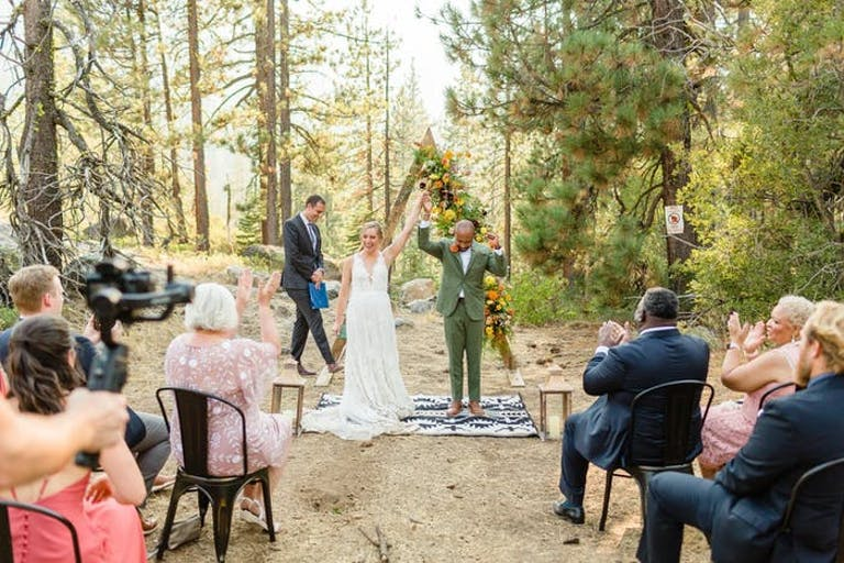 Lake Tahoe woods micro wedding   PartySlate