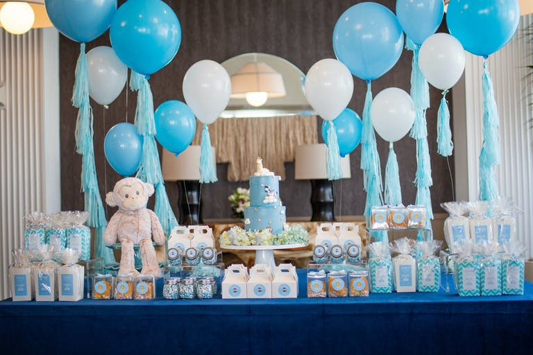 Blue and White Balloons and Dessert Station at Baby Shower   PartySlate