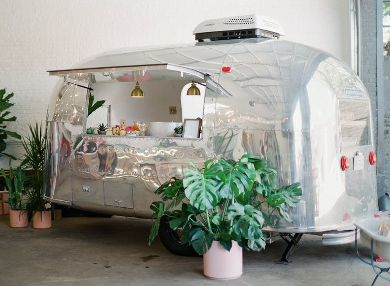 Boho Chic Baby Shower With Silver Food Truck Station   PartySlate