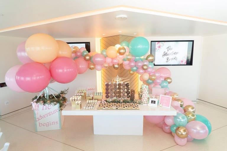 Travel-Themed Baby Shower With Pastel Balloon Décor and Sweet Station   PartySlate