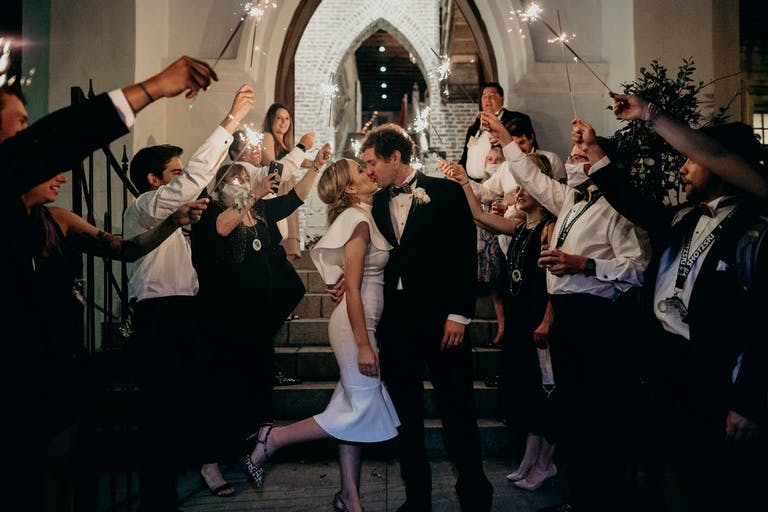A micro wedding send off with sparklers   PartySlate