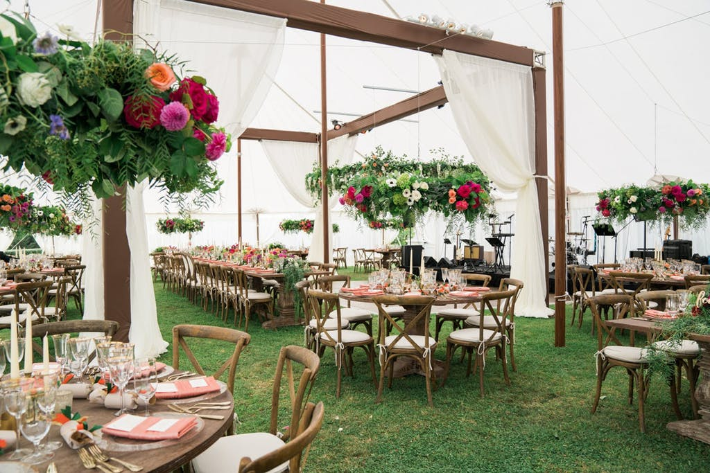 White Canopy Wedding Tent With Wooden Cabana Installation | PartySlate