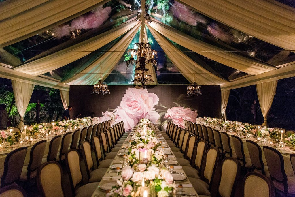 Clear Top Wedding Tent with Drapery and Rose Panels | PartySlate