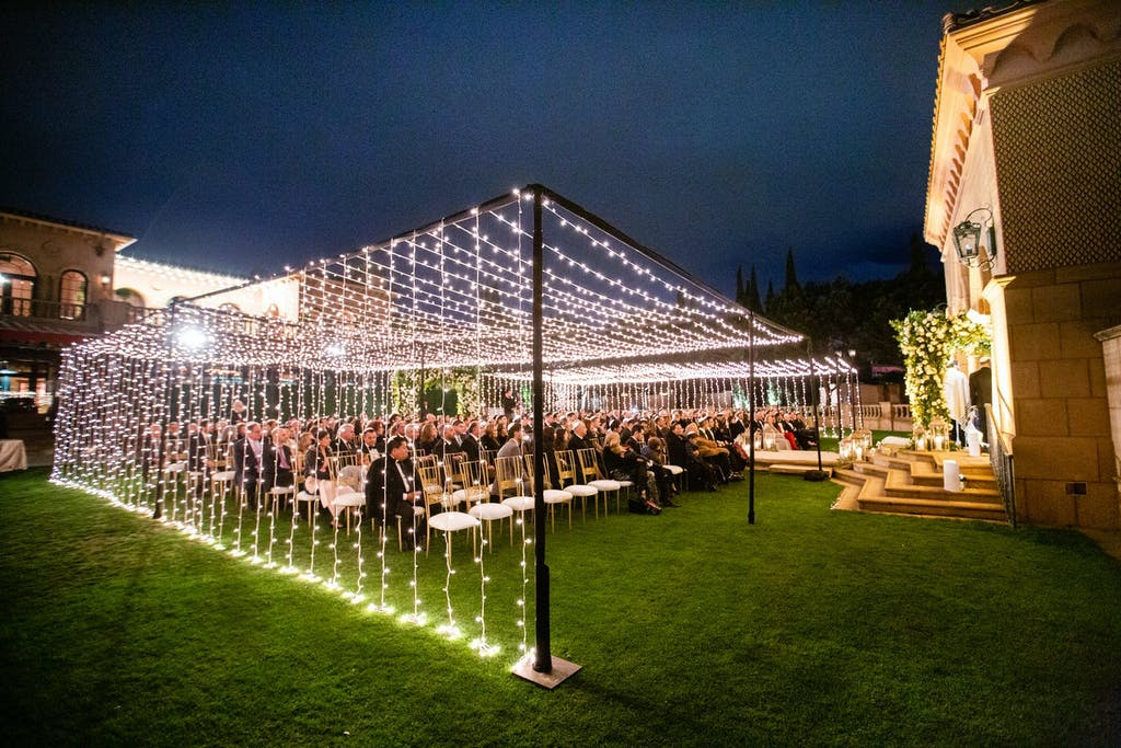 Summer Night Wedding With String Light Wedding Tent | PartySlate