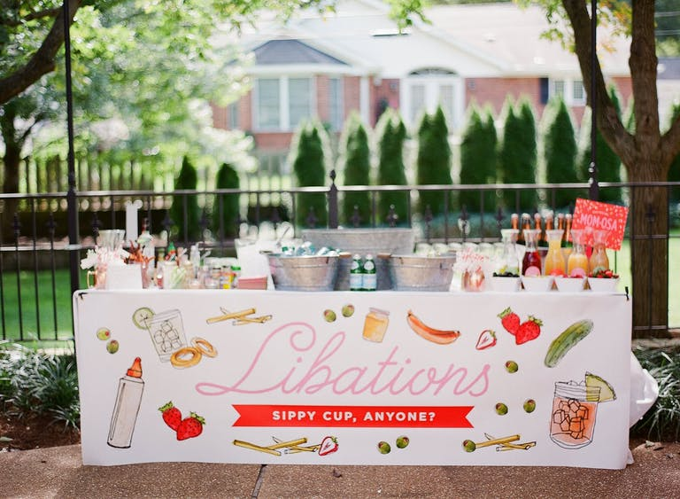 Libations Station at Outdoor Baby Shower   PartySlate