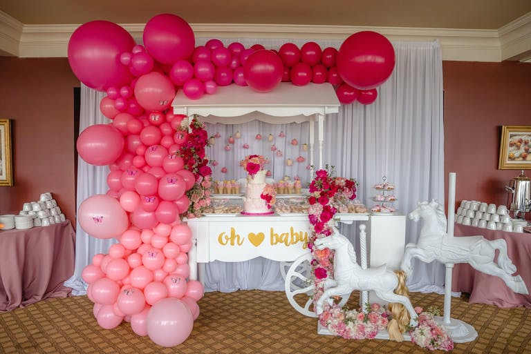 BabyShower With Dessert Station and Pink Balloon Installation   PartySlate