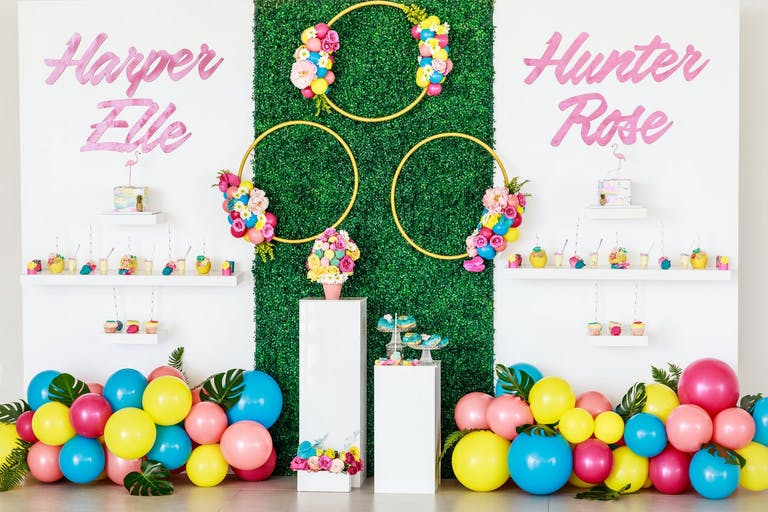 Tropical Baby Shower With Boxwood Backdrop and Colorful Balloons   PartySlate