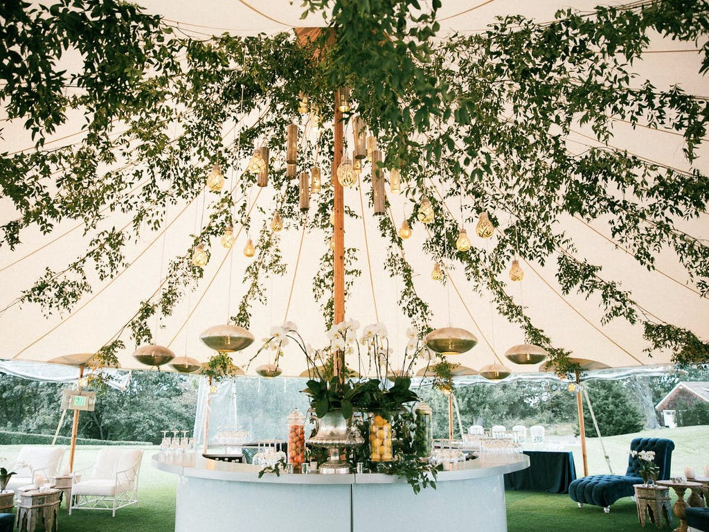 Pole Tent Wedding With Roof of Lavish Greenery | PartySlate
