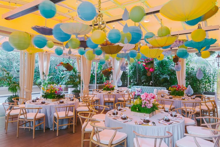 Rained-Themed Baby Shower With Umbrella Ceiling Installation | PartySlate