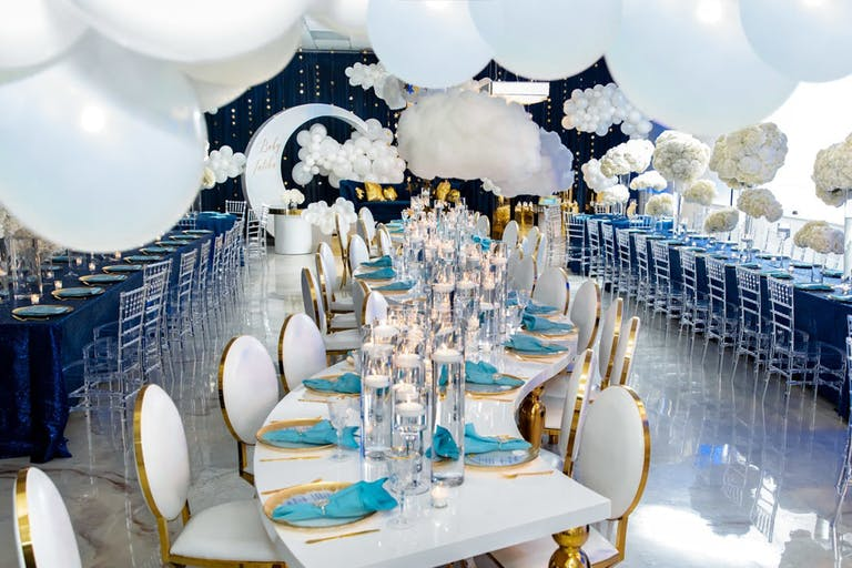 Twinkle Twinkle-Themed Baby Shower With Winding Table and White Balloon Ceiling Décor   PartySlate