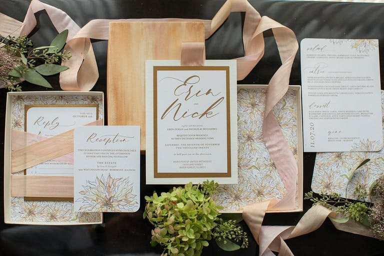 Micro wedding invitations with floral designs and ribbons   PartySlate