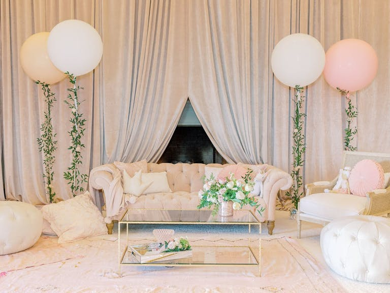 Baby Shower With Blush-Toned Lounge Area and Balloon Décor   PartySlate