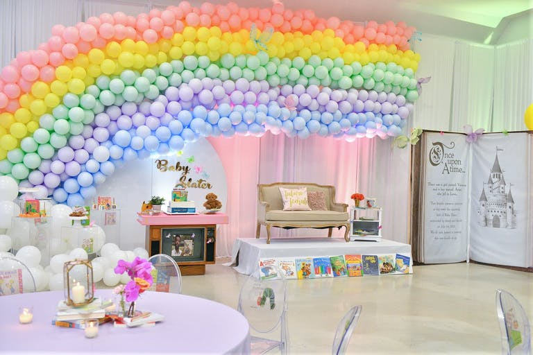 Baby Shower With Rainbow Balloon Installation and Giant Fairytale Book Photo Op   PartySlate
