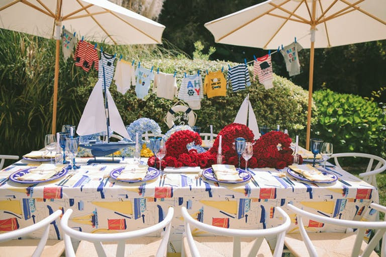 Nautical-Themed Baby Shower With Red Rose