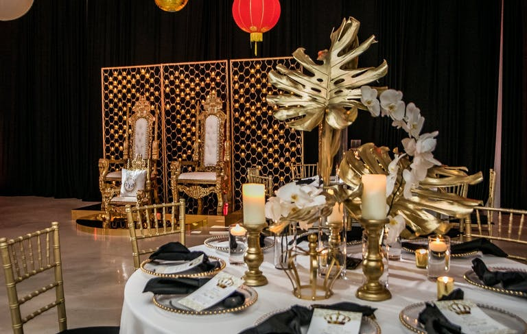 Royal-Themed Baby Shower With Gold Décor and Throne Seating   PartySlate