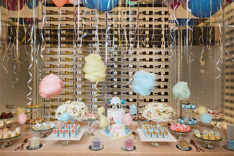 Rain-Themed Baby Shower With Cloud Cotton Candy Dessert Table | PartySlate