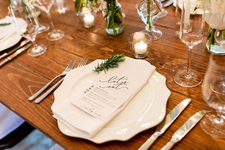 Micro at home wedding with mini menus   PartySlate