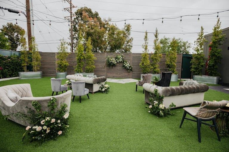 Unique seating arrangements with velvet couches   PartySlate