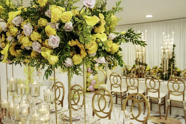 Yellow-Themed Baby Shower With Yellow Flower Décor   PartySlate