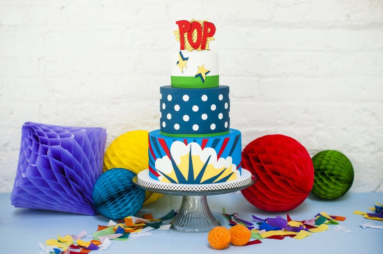 Pop Art-Themed Cake and Décor at Baby Shower   PartySlate