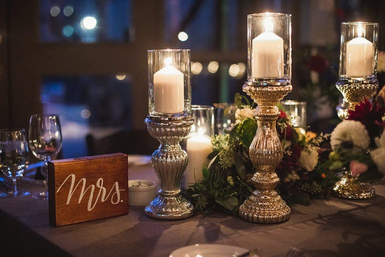 Rustic Wedding Centerpieces of Golden Vintage Candle Holders and Wooden
