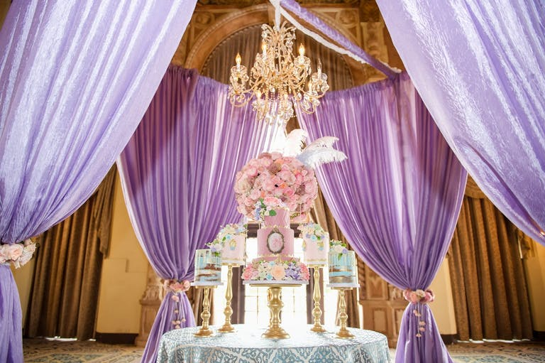 Marie Antoinette-Themed Baby Shower With Purple Drapery, Pink Florals, and Pastel Desserts   PartySlate