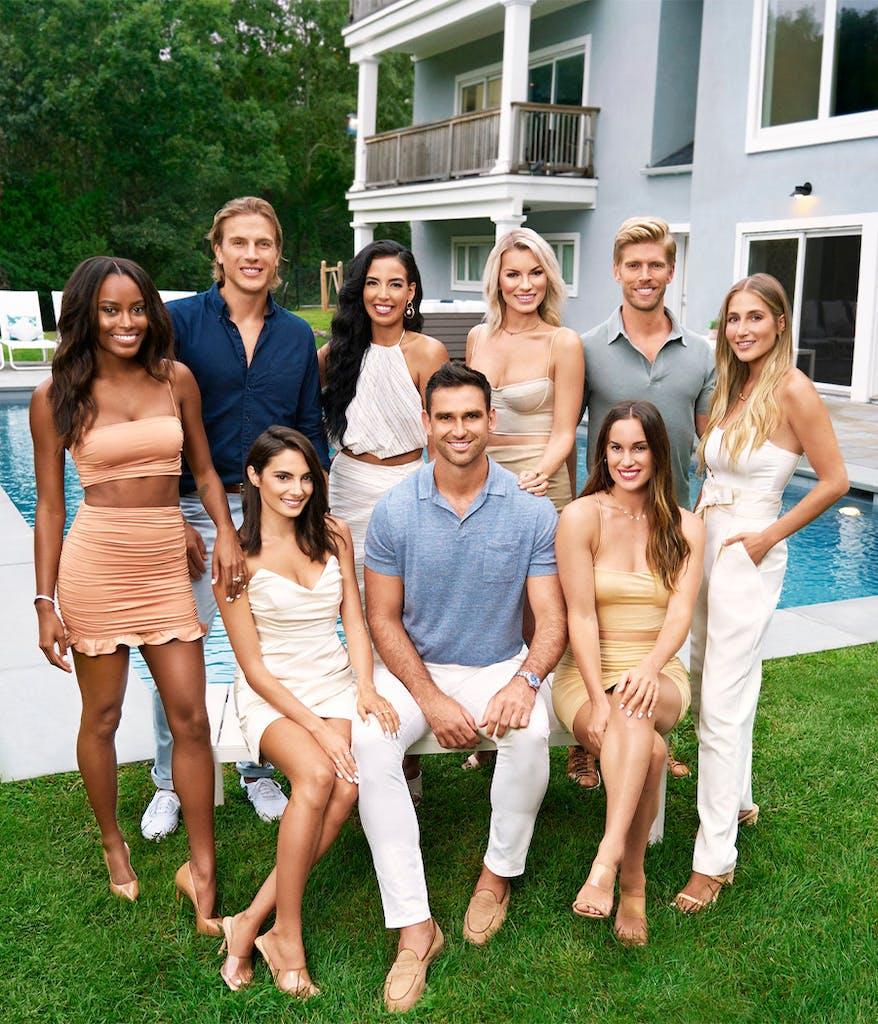 season 5 cast of Bravo's Summer House outside their beach house
