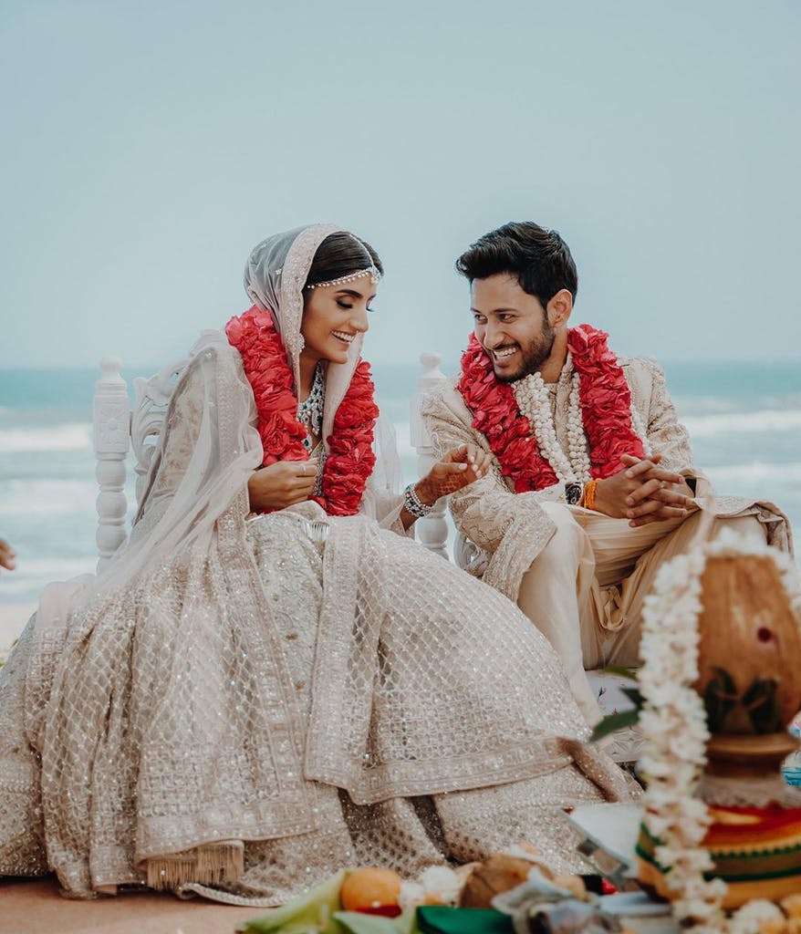 Indian couple getting married on a beach from The Big Day on Netflix