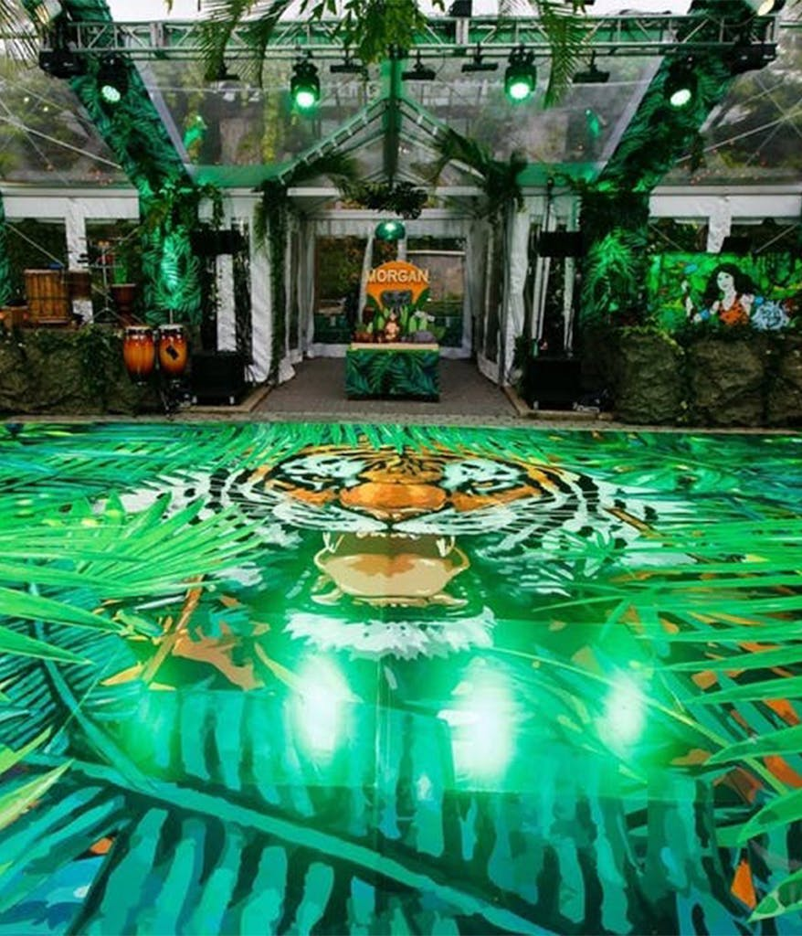 A Bar Mitzvah dance floor at the Central Park Zoo in New York City with a Tiger face on it