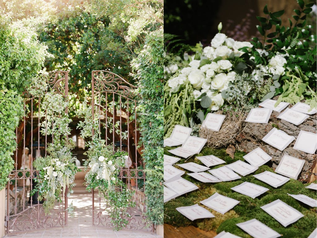 Enchanted Forest Wedding With Iron Gate Covered in Greenery and Escort Cards on a Bed of Moss | PartySlate
